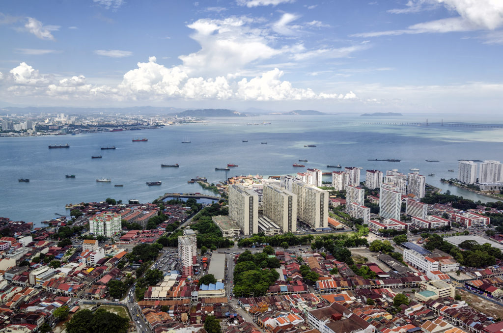 Aerial view of George Town from The Top Komtar in Penang, Malaysia